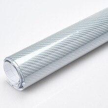Stile auto di alta lucido 5D Argento in fibra di carbonio della pellicola del vinile in fibra di carbonio car wrap foglio di Rotolo di pellicola strumento di Auto sticker decalcomania