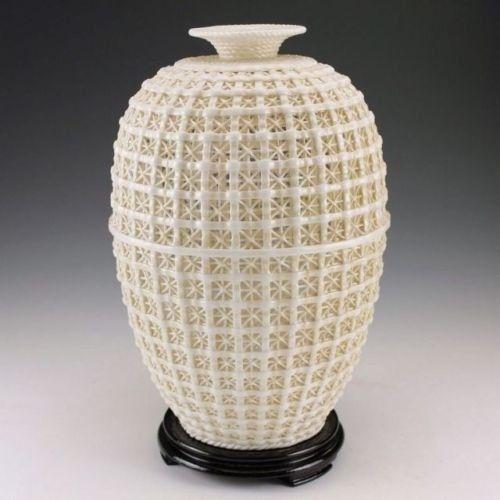 Requintado Do Vintage Chinês Dehua Porcelana Handwork Ornamento Vaso