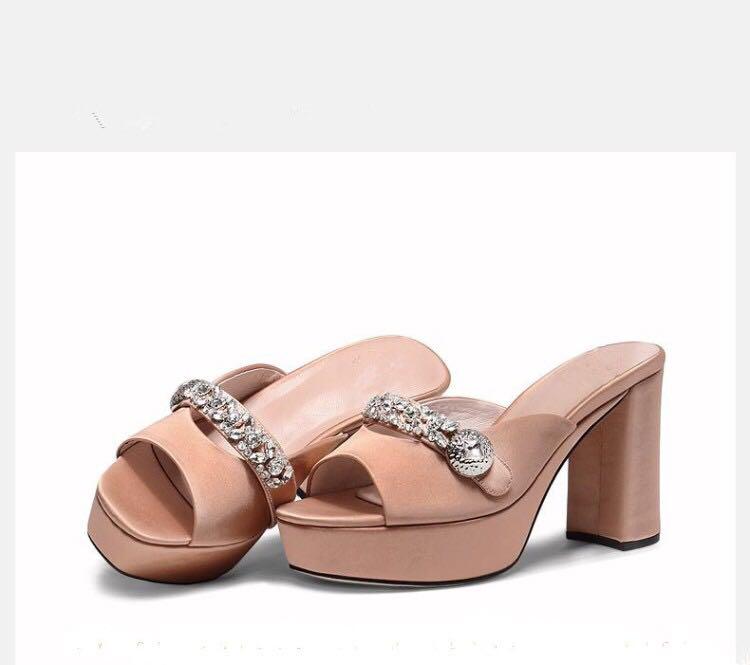 Et Haute Chunky as Peep Toe Troupeau Nude Boucle Cristal Chaussures Avant Supérieure Fille Noir Show Sandales Show As Dame Arrière Diamant D'été Talons Sangle BOvcnAWW4