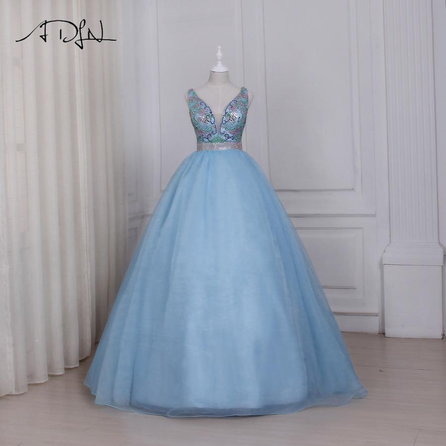 ADLN Light Blue V-neck   Prom     Dresses   Sparkling Colorful Beaded Sequins Ball Gown Elegant Evening Party   Dress   Floor Length