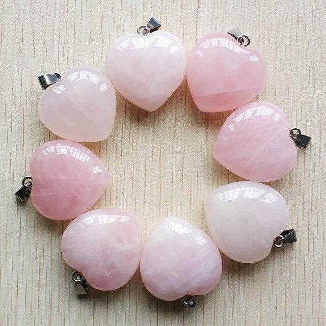 2018 Fashion love heart shape good quality natural stone for jewelry making pendants 30mm 8pcs/lot wholesale free