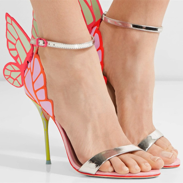 7f4ca3f48805 Mixed Color Silver Band Sandals Wings Embroidery Summer Stilettos Woman  Peep Toe Party Wedding Zapatos Cover Heel Sandalias 2017