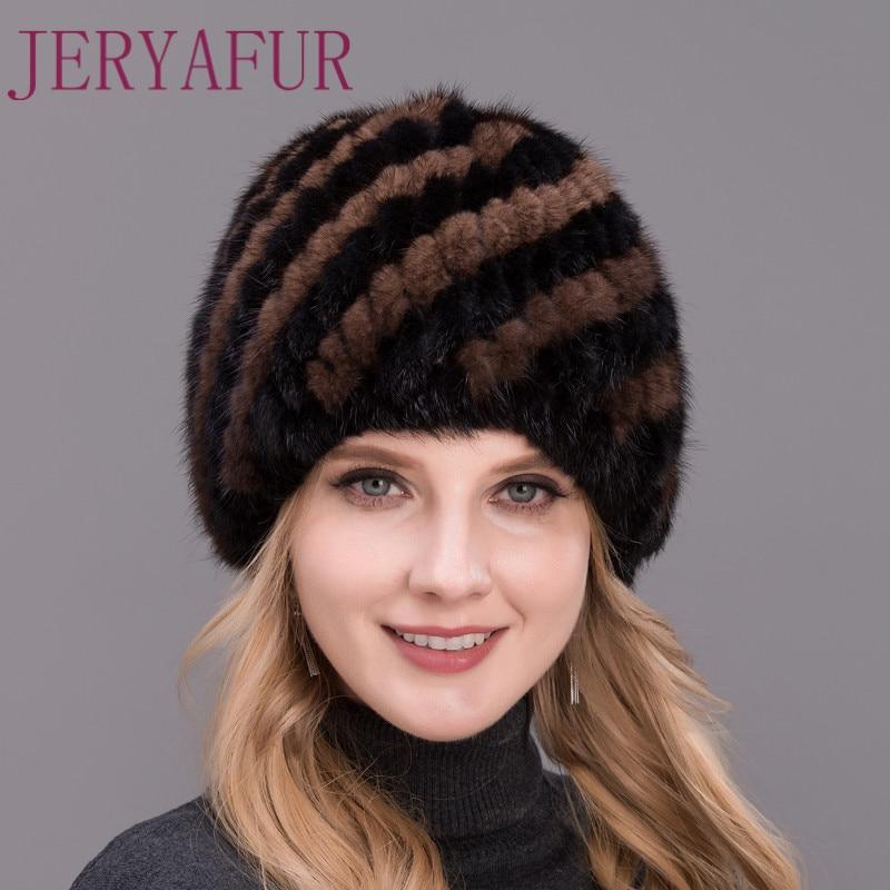 2017 vendita Calda reale cappello di pelliccia di visone per le donne inverno lavorato a maglia visone FORMA di ANANAS berretto di pelliccia caldo e speciali PER OGNI GRUPPO di ETÀ NOBILE