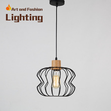 Nordic simplicity light American creative lights for restaurant cafe bar Personality single-head iron wood pendant lampCY-DD-240