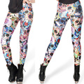 2014 new women' spring autumn sexy slim high elastic colorful floral skull ankle length legging