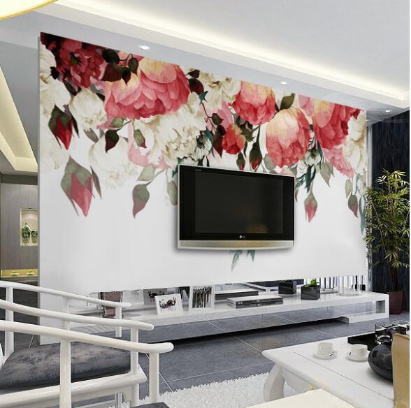 3D Wallpaper Foto Mural Kustom Ukuran Dinding untuk Ruang Tamu Kamar Tidur Bunga Mural Desainer Wallpaper Murah di Wallpaper dari Perbaikan rumah ...