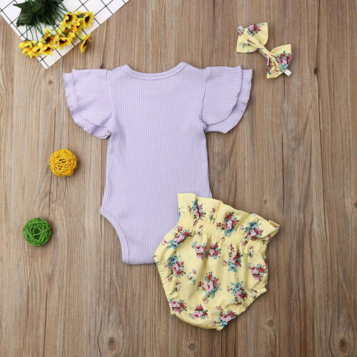 UK Newborn Baby Girls Clothes Ruffle Sleeve Romper Floral Shorts Headband Outfit