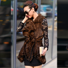 Free shipping New Knitted Genuine real natural Mink Fur Vest gilet Women  Coat Winter Jacket Custom