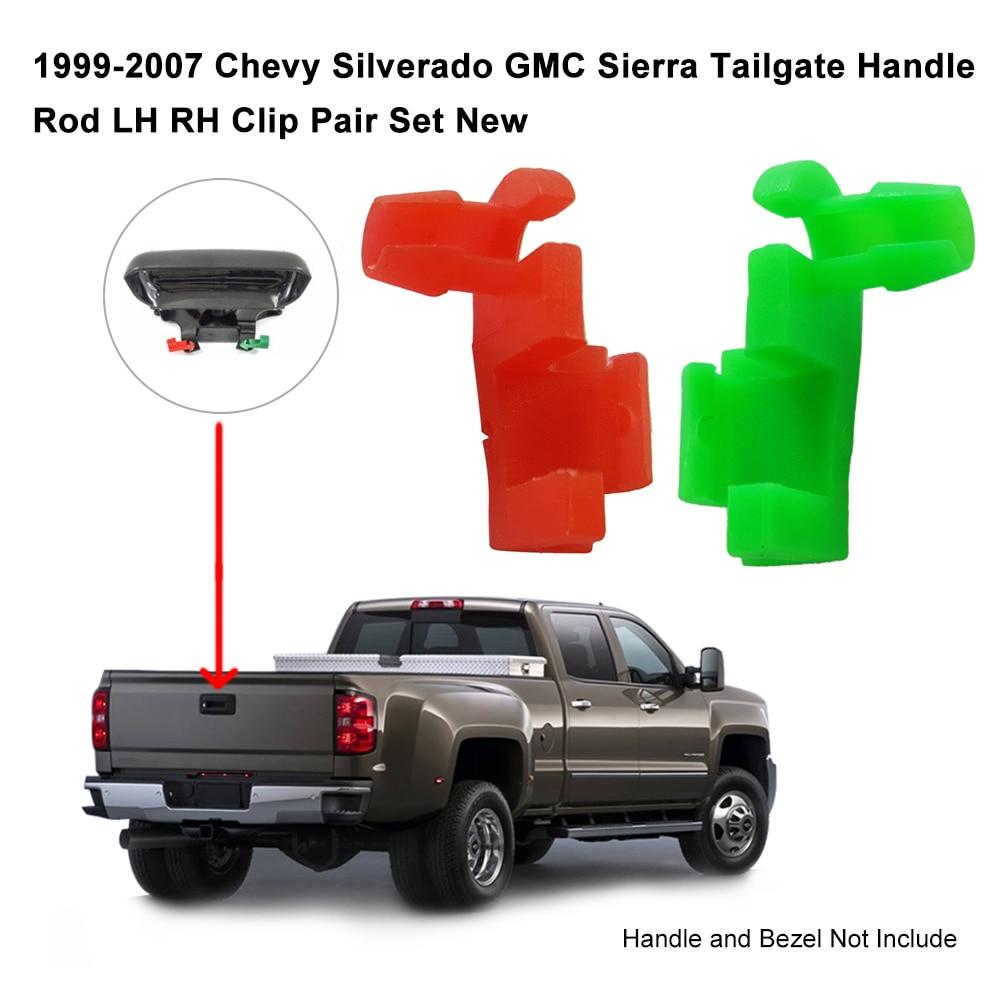 1999-2007 Chevy Silverado GMC Sierra Tailgate Handle Rod LH RH Clip Pair Set New