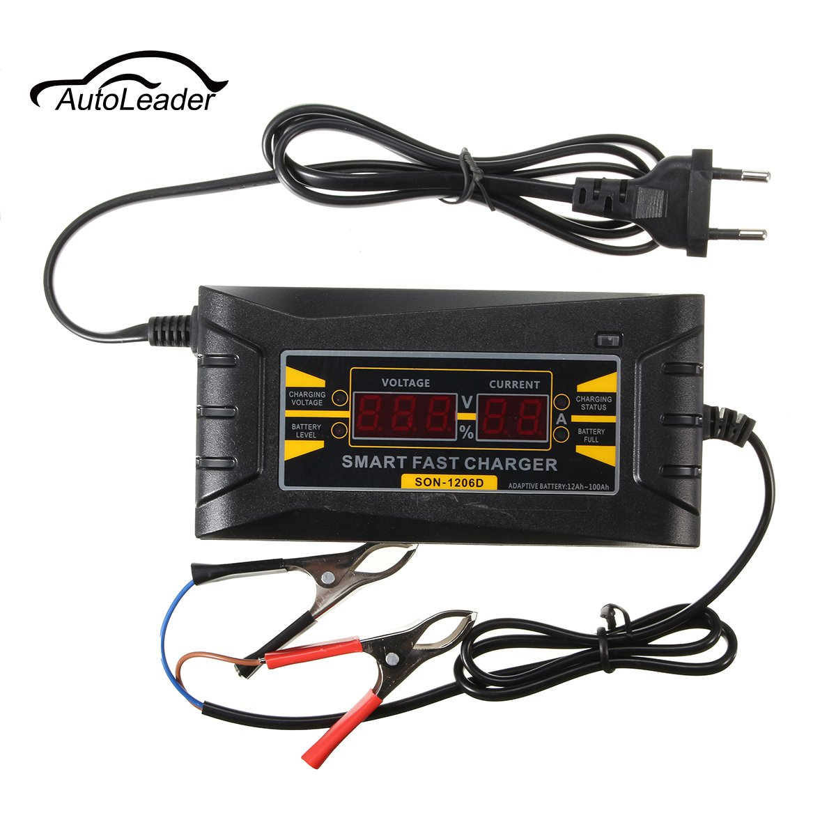 SON-1206D 12V 6A Smart PWM Battery Charger LCD Digital Display For Car Motor