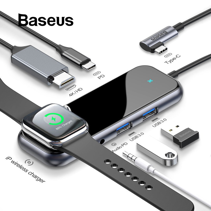 Baseus USB C HUB To USB 3.0 HDMI RJ45 Adapter For MacBook Pro Air Multi Type C HUB With Wireless Charge For USB-C HUB
