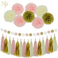 Nicro12Pcs смешанные золотые, розовые, цвета слоновой кости вечерние бумажные цветы с кисточками Гирлянда DIY крещение день рождения Свадебная ве...