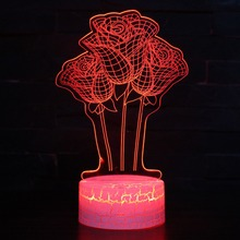 Valentine 3D Visaul LED Night Light Flower Romantic Rose RGB Night Lamp DC 5V Charging 7 Colors Changing Home Decoration light valentine s day rose confession present led night light