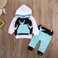 Rena do natal Crianças Meninos Das Meninas Do Bebê Com Capuz Tops + Calças Roupas Set 2 pcs terno do bebê menino roupas roupas de recém-nascidos
