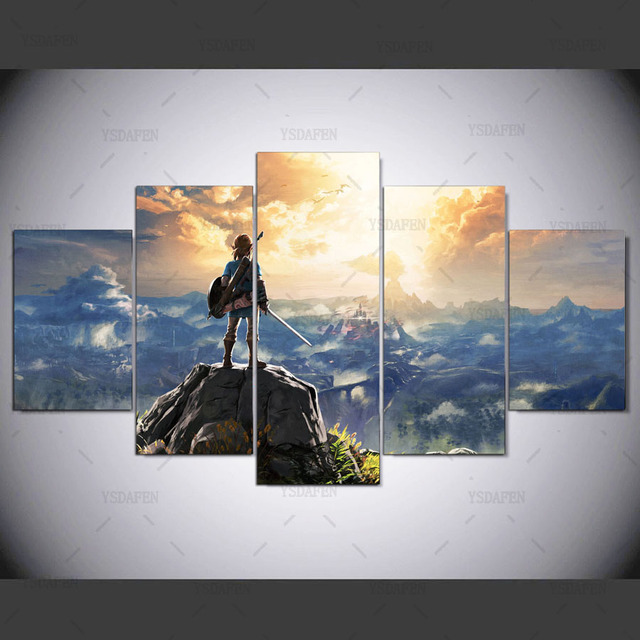 Canvas Painting Wall Pictures 5 Panel Game Wall Art Legend Of Zelda Poster For Living Room Home Decor Modular Pictures Frames 4