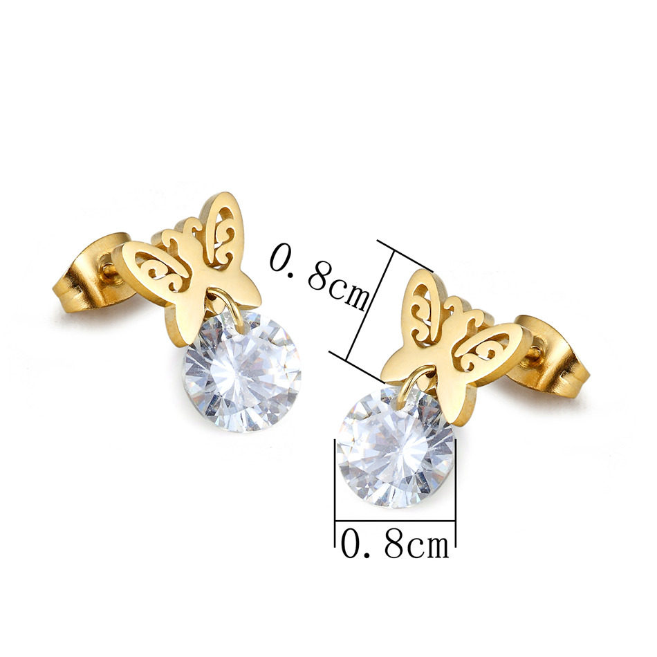 Closeout Deals▄Butterfly Earrings Joyas Crystal Girls Jewelry 12-Pairs-Set Stainless-Steel Wholesale