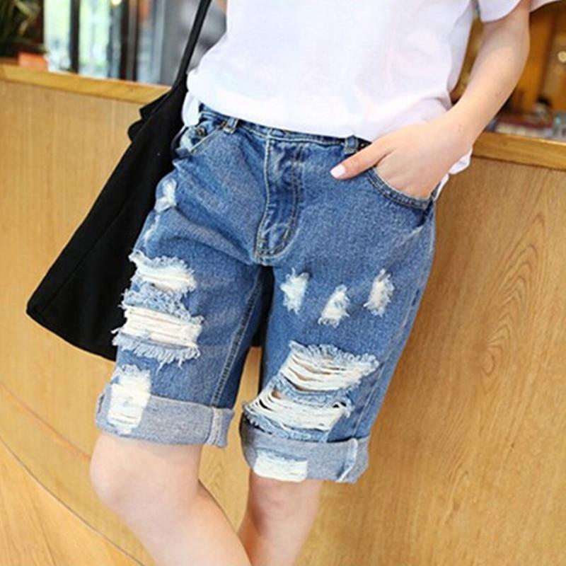 Лидер продаж 2015 модные летние женские темно-синие свободные Рваные джинсы Мотобрюки Дл ...