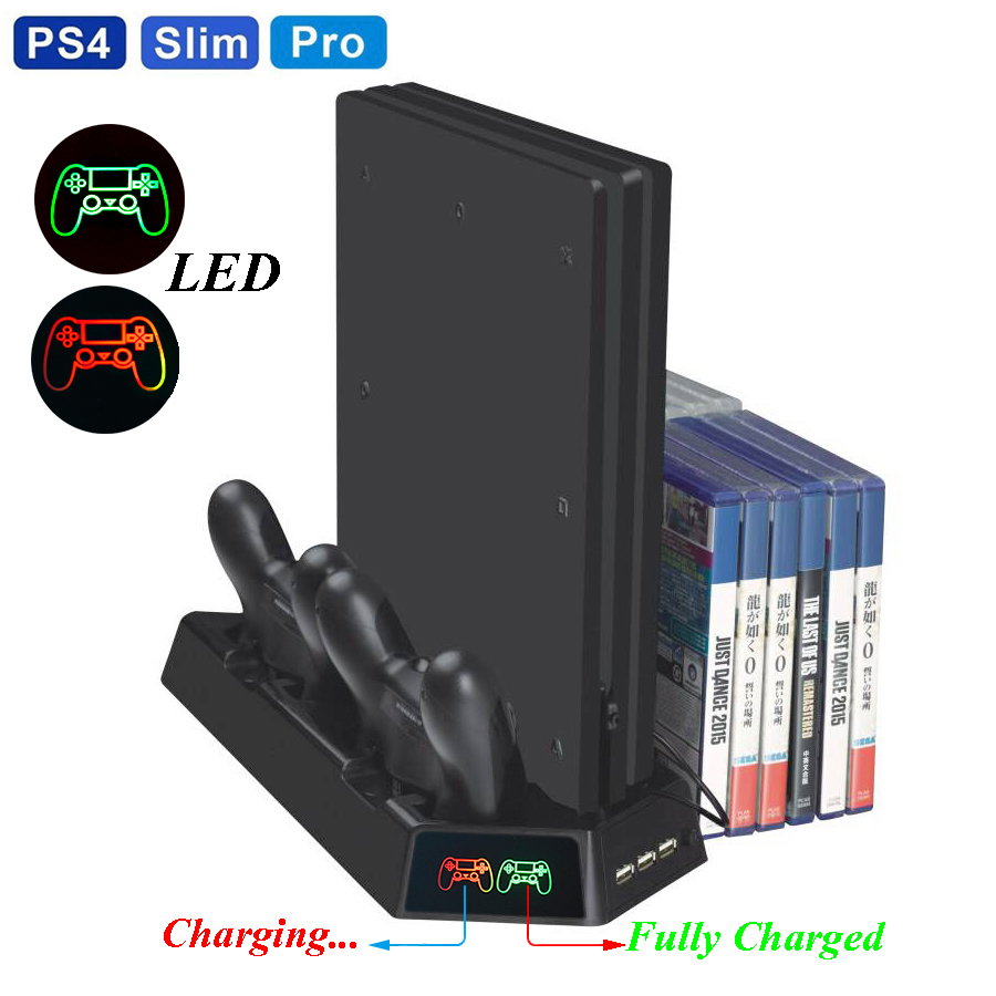 PS4 Slim PRO LED Vertical Stand With Cooling Fan Cooler Dual Controller Charger Charging Station For SONY Playstation 4