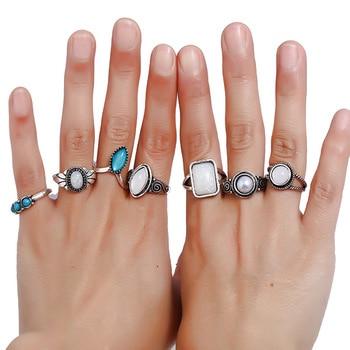 7 Pcs/lot Baroque Knuckle Ring Set for Women Midi Finger Ethnic Rings Blue White Stone Wholesale Jewellery Aneis Feminino