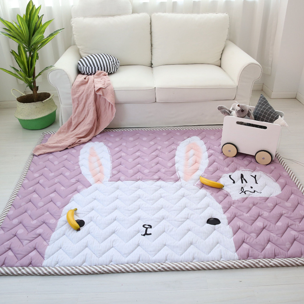 Muslinlife Cotton Baby Kids Playmat Soft Warm Anti slip Floor Mat Cute Bunny Bear Elephant Kids