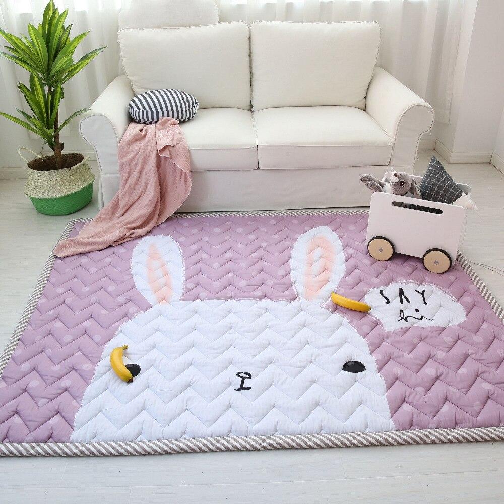 Muslinlife coton bébé enfants tapis de jeu, doux chaud tapis de sol anti-dérapant, mignon lapin ours éléphant enfants filles garçons tapis de jeu, 140*200 cm
