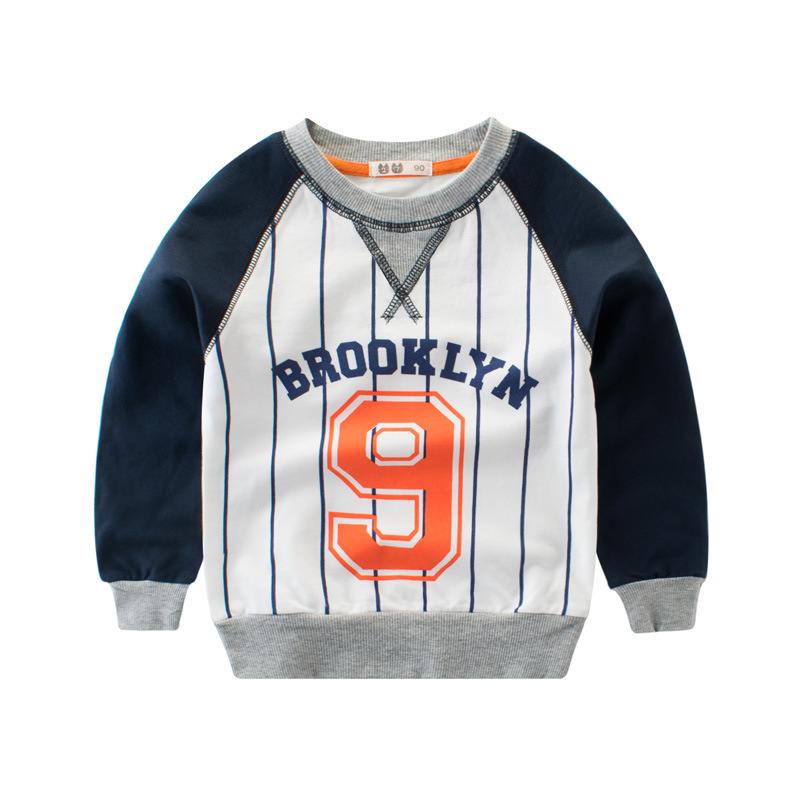 50c91e04 2018 High Quality 100% Cotton Boys T-shirts Patchwork Long Sleeve Tee Shirt  Sport Number 9 Infantis O-Neck Striped Kids Clothes