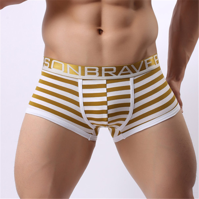 Men s Sexy Fashion Boxer Shorts Striped Cotton Brave Person Underwear Underpants Knickers Patchwork Boxer New
