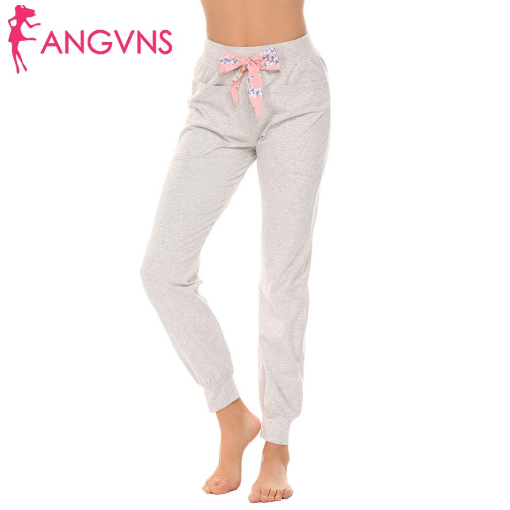 ANGVNS Elastic Bottom Waist Fashion women love cute Long Lounge Pajama Pants Women