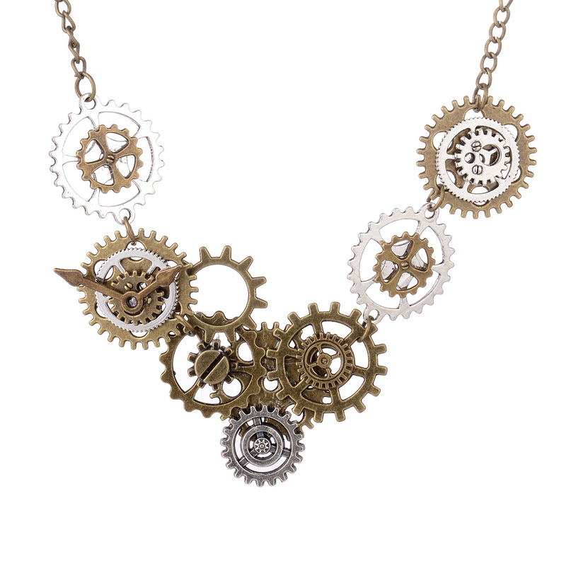 2016 Newest Various Gears Combined DIY Steampunk Necklace Vis