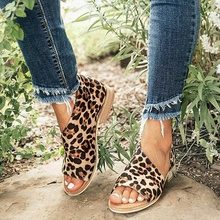 Large size casual shoes women 2019  summer side air fish mouth leopard sandals slip on beathable zapatos de mujer