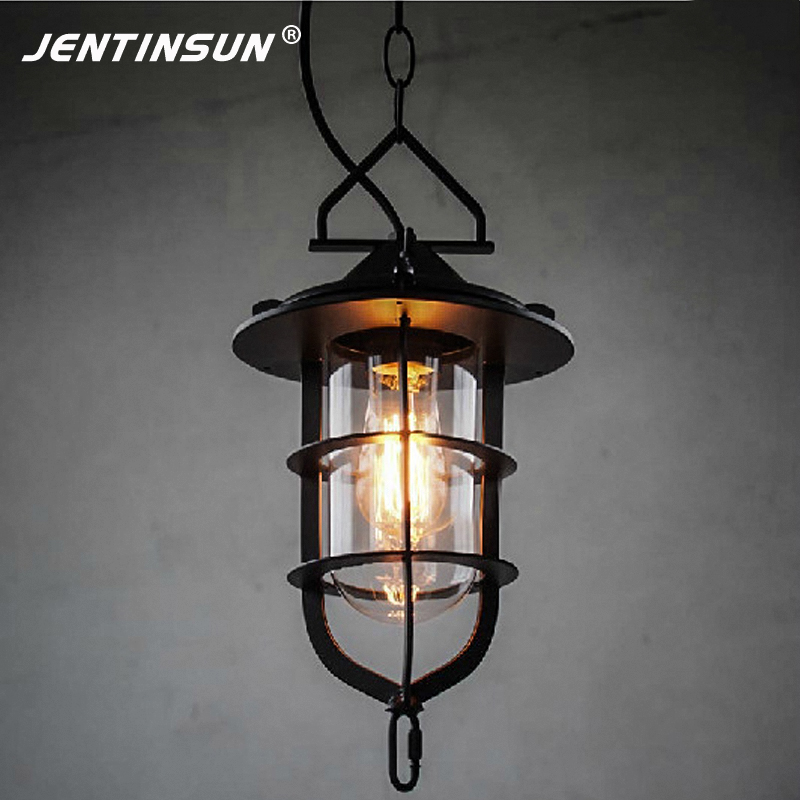 Nordic American Village Style Retro Iron Black Pendant Light Vintage LED Glass Home Fixture Hanging Lamp for Cafe Study Dock