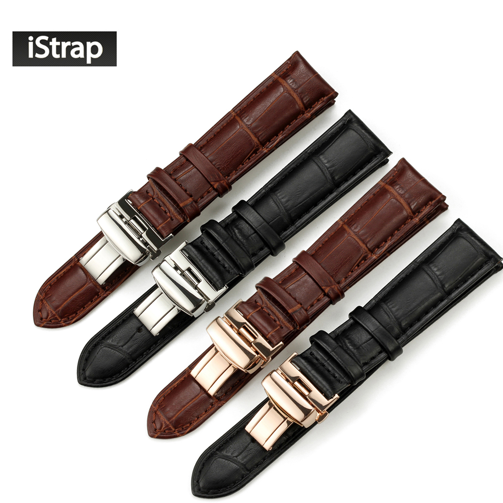 iStrap 18mm to 22mm Genuine Calf Watchband Stainless Clasp Watch Band Strap for Orient Seiko Leather Bracelet for Breitling istrap 22mm handmade genuine calf leather padded replacement watch band for men black 22
