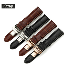 iStrap 18mm to 22mm Genuine Calf Watchband Stainless Clasp Watch Band Strap for Orient Seiko Leather Bracelet for Breitling