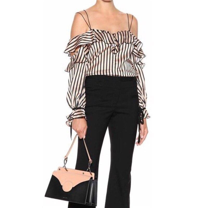 2018 new arrive offer shoulder striped tops ruffles
