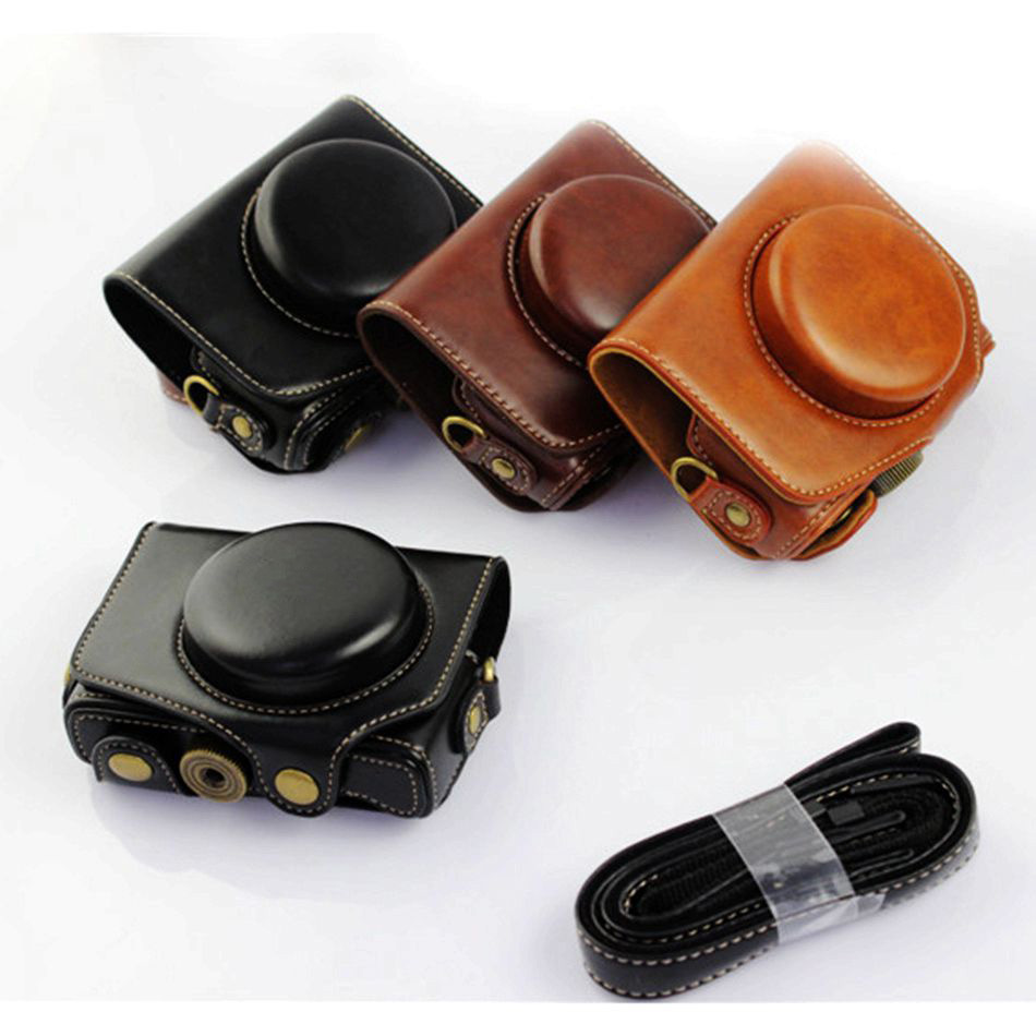 Luxury Leather Camera Shoulder Case For Canon Powershot G7X Digital Camera PU Leather Camera Bag Cover + Shoulder Strap
