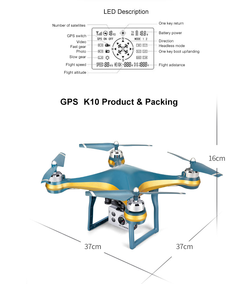 XKY K10 GPS Drone WiFi FPV Drone with Adjustable HD ESC Camera Wide Angle + Altitude Hold RC Quadcopter Drone -min Flight Time 18