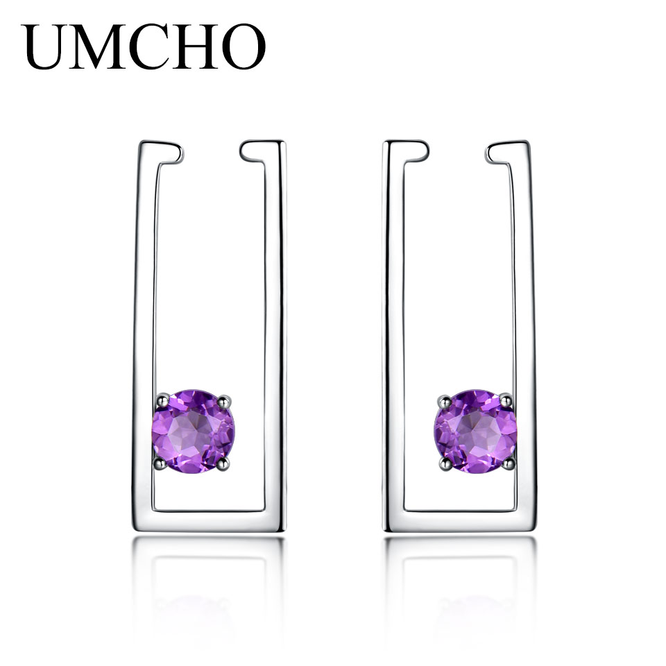 UMCHO 1.8ct Natural Amethyst Clip Earrings For Women 100% Real 925 Sterling Silver Earrings Female Fine Jewelry Fashion 2018 New