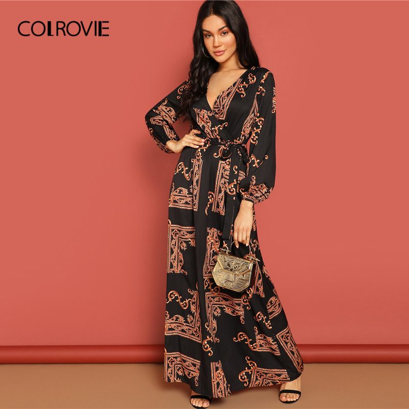 COLROVIE V Neck Scarf Print Belted Wrap Casual Dress Women 2019 Spring Long Sleeve Party Maxi Dress Vacation Ladies Dresses image