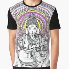 bc16f7d5ba8e54 All Over Print T-Shirt Men Funy tshirt Lord Ganesh Mandala Short Sleeve O-.  2 Colors Available