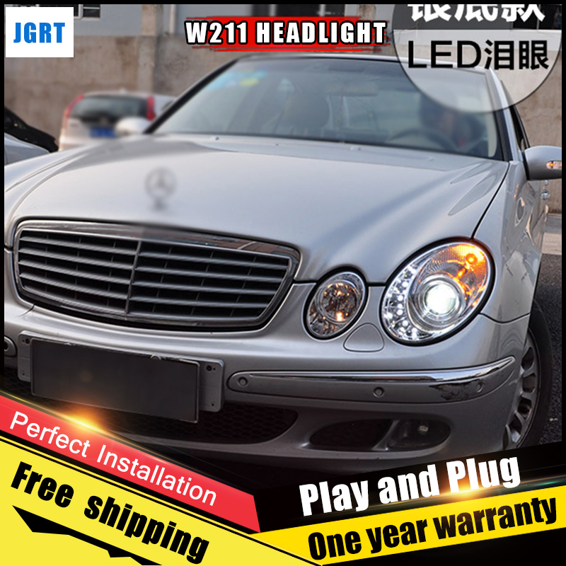 2PCS Car Style LED headlights for Benz W211 2003-2009 W211 for head lamp LED DRL Lens Double Beam H7 HID Xenon bi xenon lens hireno headlamp for 2003 2009 toyota land cruiser prado headlight assembly led drl angel lens double beam hid xenon 2pcs