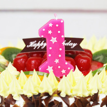 Number 0-9 Blue/Pink Candle Smokeless 1pcs/lot for Wedding Birthday Party Anniversary Event Cake Decoration Accessories AQ081