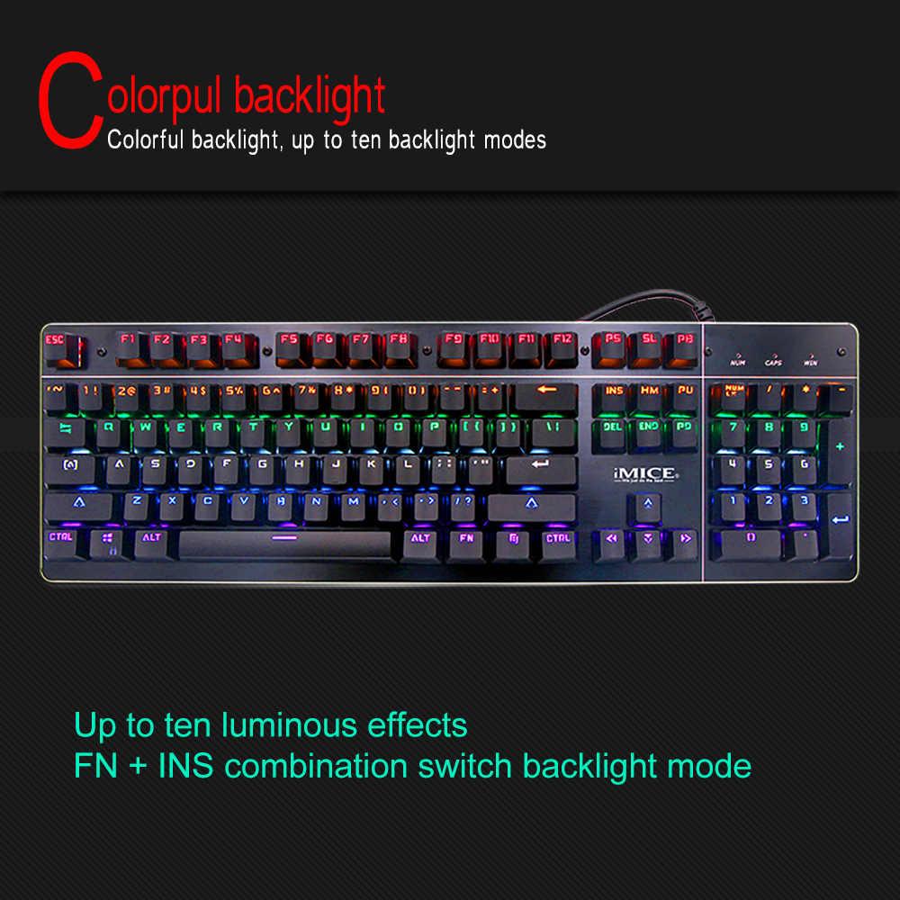 IMICE MK-X8 светящийся кабель Киберспорт машина зеленый оси игры клавиатура с плагин клавиатуры.