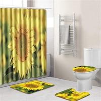 Plant patternBathroom shower curtain 4 pcs set polyester fabric shower curtain set bathroom mat toilet seat bathrooms decoration