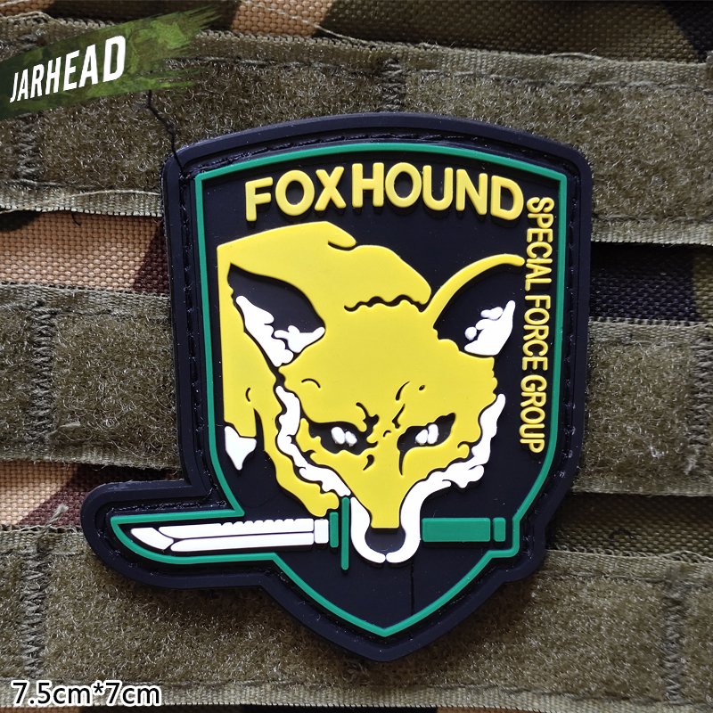 Fox Hound Tactical PVC Patches Velcro Rubber Armband Military Badge Personality For Backpack Hat Clothes Jacket