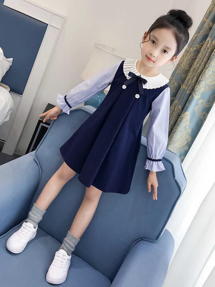 Детские платья для девочек, весенний Школьный костюм детская одежда для подростков платье принцессы с длинными рукавами для маленьких девочек 8, 9, 10, 12, Vestidos
