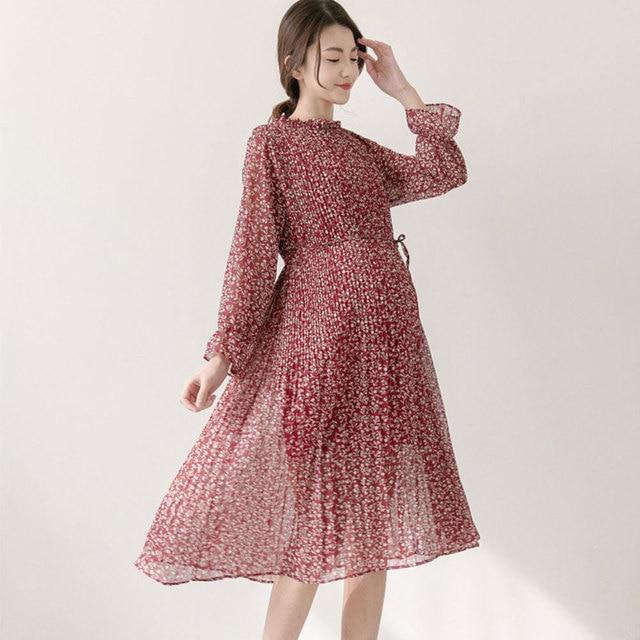 Casual Pregnant Women Dress Spring Clothes Maternity Skirt Mandarin Collar Fl Chiffon Vestidos Pregnancy