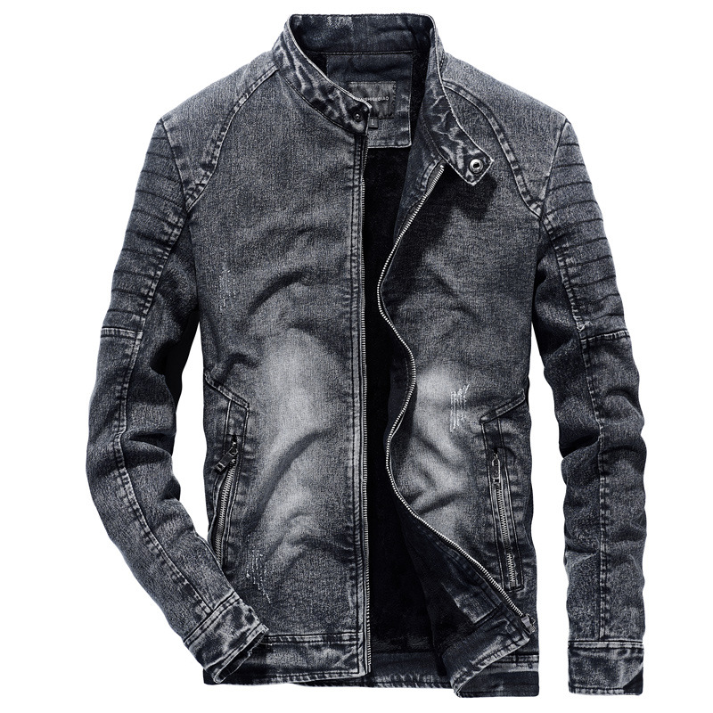 Vintage Denim Jackets Men Slim Fit Solid Color Casual Mens Jeans Coat 2019 Fashion Vintage Clothes For Men Black Blue S239