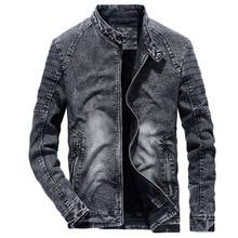 Vintage Denim Jackets Men Slim Fit Solid Color Casual Mens Jeans Coat 2019 Fashi