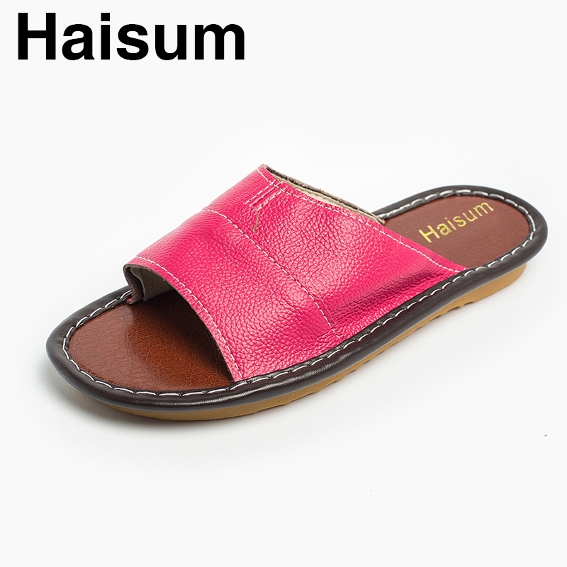 Ladies Slippers Spring And Summer genuine Leather Home Indoor Slip Non-slip Slippers 2018 New Hot Haisum Tb006 ladies slippers summer genuine leather linen woven breathable home indoor non slip slippers 2018 new hot haisum tb010