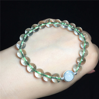 Natural Green Ghost Bracelets Green Phantom Quartz Crystal Clear 8mm Bead Charm Women Bracelet With Silver Accessories Moonstone